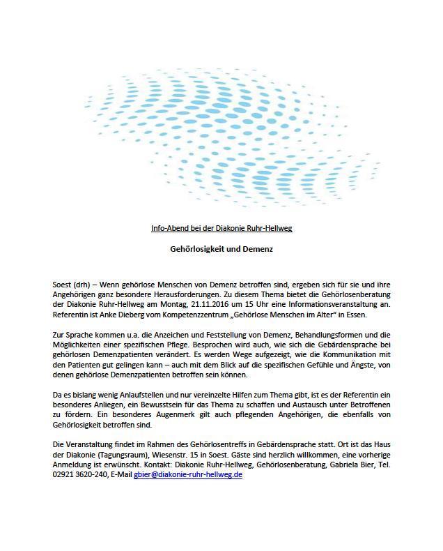 Vortrag zum Thema Demenz am 22. November in Soest